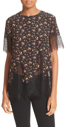 Women's Mcq Alexander Mcqueen Floral Print Lace Tee $380 thestylecure.com