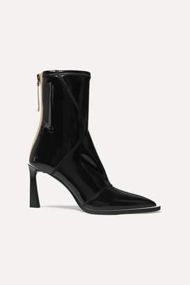 Fendi Two-tone Glossed-neoprene Ankle Boots - Black