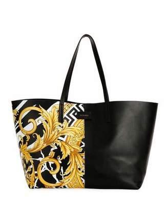 Versace Savage Barocco Leather Tote Bag