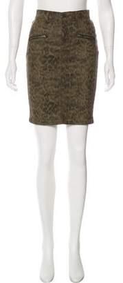 Current/Elliott Animal-Print Knee-Length Skirt