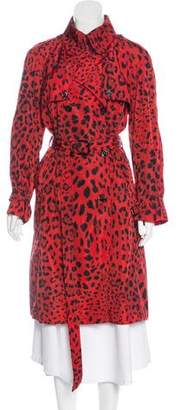 Dolce & Gabbana Leopard Printed Trench Coat