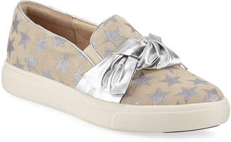 Neiman Marcus Olery Glittered Star Bow Sneakers Silver