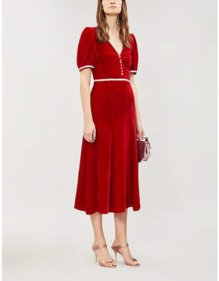 MARKARIAN Trumpet puffed-sleeve velvet midi dress