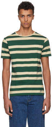Burberry Green and Off-White Stripe T-Shirt