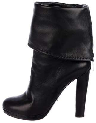 Prada Leather Fold-Over Cuff Ankle Boots