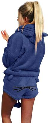 74dc15b8b1 TAORE Long sleeve Women Warm Winter Pj Set Two Piece Cute Cat Fleece  Pajamas Hoodie Sleepwear