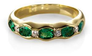 Aspinal of London Phoebe Wave Emerald & Diamond Ring