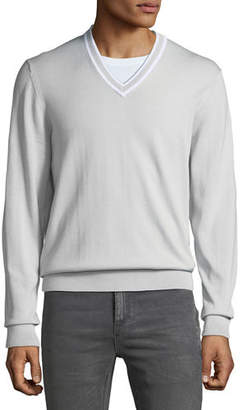 Michael Kors Men's Cotton V-Neck Sweater w/ Tipping