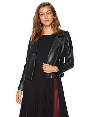 Lucky Brand Women's PIN DOT Moto Jacket Black