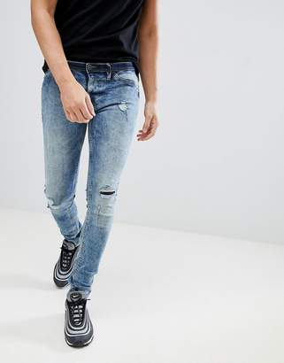 Blend flurry knee rip muscle fit jeans in bleach wash