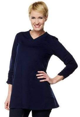 Susan Graver French Terry V-neck Tunic w/ Ruched Sleeves & Side Pockets