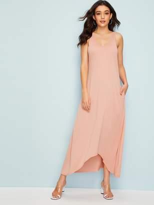 Shein Pocket Side Dip Hem Dress