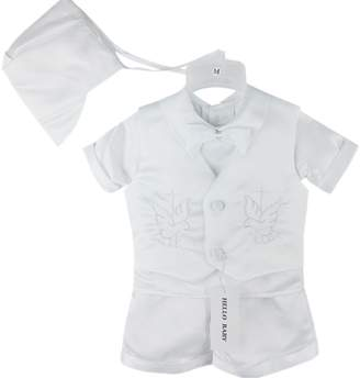 Hello Baby Cross Embroidery Boy Christening Baptism Clothes Sets 0684 S