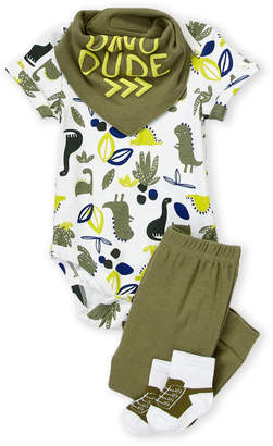 Baby Essentials Chick Pea (Newborn Boys) 4-Piece Dino Bodysuit & Pants Set