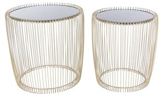 DecMode Decmode Set of Two - 17 and 18 Inch Contemporary Iron and Glass Round Cage Style Accent Tables, Gold