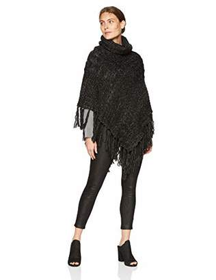 Tickled Pink Women's Patchwork Knit Poncho with Thick Fringe
