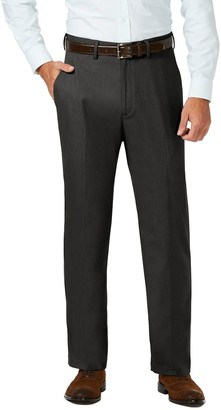 Haggar Men's J.M. Premium Classic-Fit Stretch Sharkskin Flat-Front Hidden Expandable Waist Dress Pants
