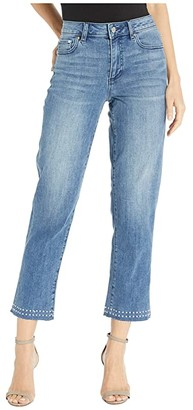 Vince Camuto Studded High-Rise Crop Straight Leg Jeans in Spectrum Blue