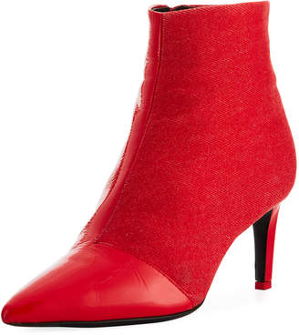 Rag & Bone Beha Mixed Leather & Suede Zip-Up Boot, Red