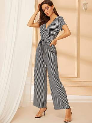 Shein Striped Surplice Neck Belted Palazzo Jumpsuit