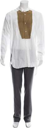 Loewe Suede-Accented Linen Shirt white Suede-Accented Linen Shirt