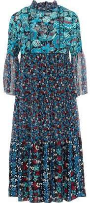 Anna Sui Gathered Printed Jacquard And Georgette Midi Dress
