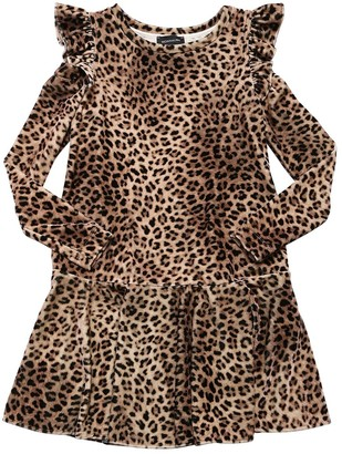 MonnaLisa LEOPARD PRINT CHENILLE DRESS