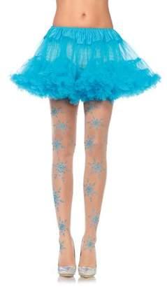 Leg Avenue Women's Let It Snow Spandex Sheer Glitter Snowflake Pantyhose, Nude/Blue, One Size
