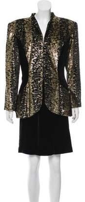 Vicky Tiel Metallic-Accented Velvet Skirt Suit