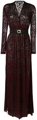 Just Cavalli flocked sheer long dress