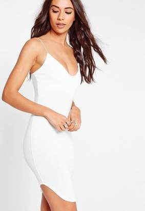 Missguided Strappy Curve Hem Midi Dress White