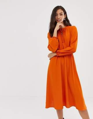 Vila keyhole wrap front midi dress