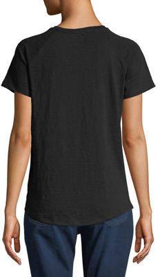 MICHAEL Michael Kors Crewneck Rivet-Shoulder Cutout Tee