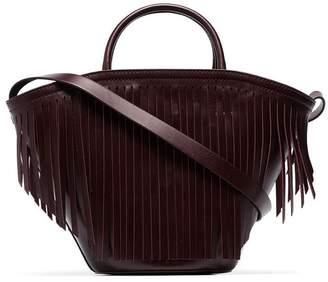 Trademark burgundy leather fringed tote bag