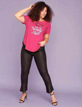 Lane Bryant Coffee Days Champagne Nights Graphic Curved-Hem Tee