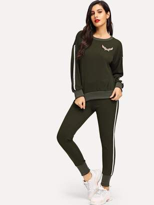 Shein Drop Shoulder Sweatshirt & Elastic Waist Pants