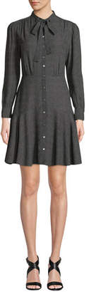 Rebecca Taylor Tie-Neck Button-Front Long-Sleeve Sprinkle-Dot Silk Dress