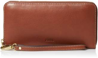 Fossil Emma Large Zip Clutch,Brown
