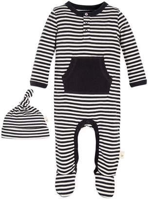 Burt's Bees Candy Cane Stripe Footed Organic Baby One Piece Jumpsuit & Hat
