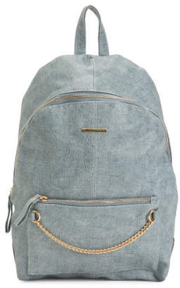 Chambray Backpack With Chain Detail
