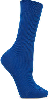 Maria La Rosa Ribbed Organic Cotton Socks - Cobalt blue