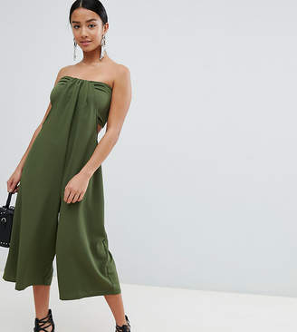 Asos Design Petite Bandeau Jumpsuit With Cut Out And Drape Detail