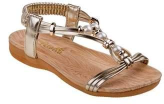Petalia Girls Gold Pearl Adorned Elastic Strap Open Toe Sandals 13 Kids