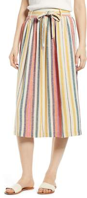 BP Tie Belt Stripe Midi Skirt