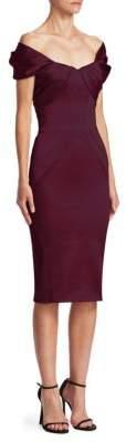 Zac Posen Satin Off-The-Shoulder Dress