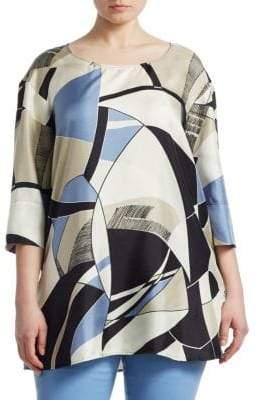 Marina Rinaldi Marina Rinaldi, Plus Size Farsetto Printed Silk Top