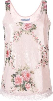 Blumarine floral sequinned vest