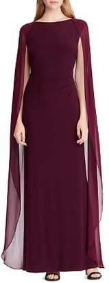 Ralph Lauren Cape-Overlay Gown