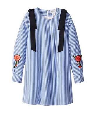 Oscar de la Renta Childrenswear Striped Cotton Long Sleeve Dress with Floral Embroidery (Toddler/Little Kids/Big Kids)