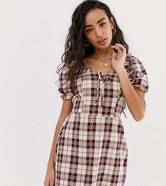 Miss Selfridge Petite dress with puff sleeve in check